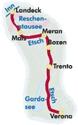 Adige/Etsch Cycle Route: Landeck - Verona (345km) Bikeline Map/Guide