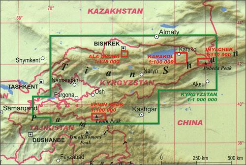 Tian Shan Map Tian Shan   Khan Tengri   Pobeda Peak   Lenin Peak terraQuest  Tian Shan Map