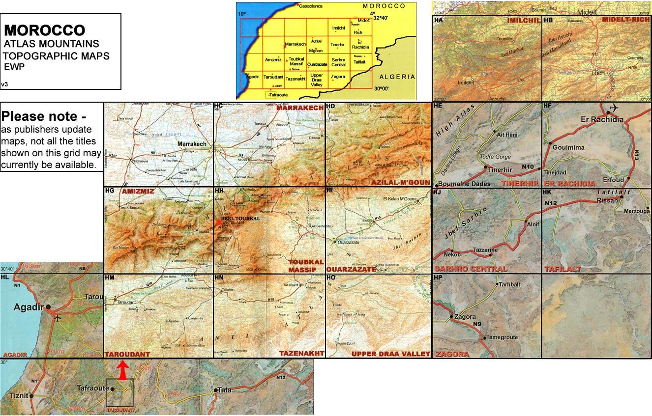 Morocco: Atlas Mountains Topographic Maps