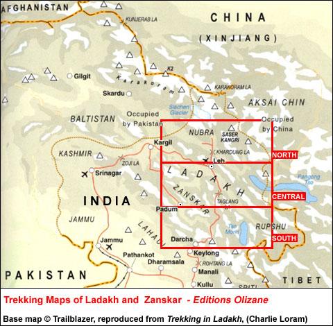 India: Ed. Olizane Trekking Maps of Ladakh and  Zanskar