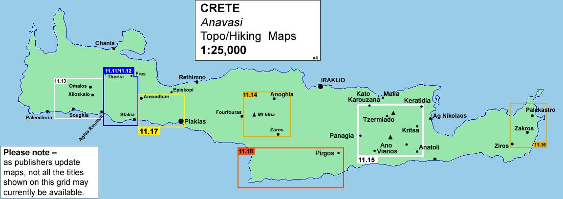 Greece: Anavasi Hiking Maps of Crete
