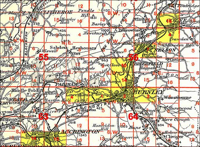 OLD ORDNANCE SURVEY MAP BURNLEY 1910 COG LANE MONTAGUE ROAD BANK HALL COLLIERY