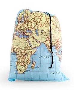 Map Print Fold Up Travel Laundry Bag