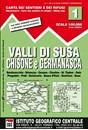 Susa, Chisone & Germanasca Valleys: Sestiere - Sauze d'Oulx - Bardonecia 50K IGC Map No. 1