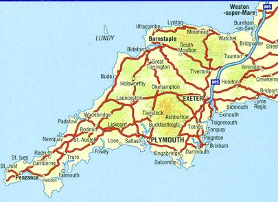 Map Of Devon And Cornwall Devon & Cornwall A Z Road Map | Stanfords Map Of Devon And Cornwall