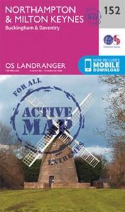 Northampton, Milton Keynes, Buckingham & Daventry OS Landranger Active Map 152 (waterproof)