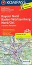 Bavaria North - Baden-Württemberg North-East: Würzburg - Nuremberg - Regensburg 125K Kompass Cycling 2-Map SetNo. 3710