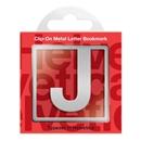 Helvetica J Clip-On Metal Letter Bookmark