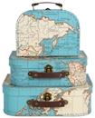 Vintage Map Suitcase - Set of 3
