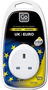 UK to Europe Travel Adaptor with USB Ports